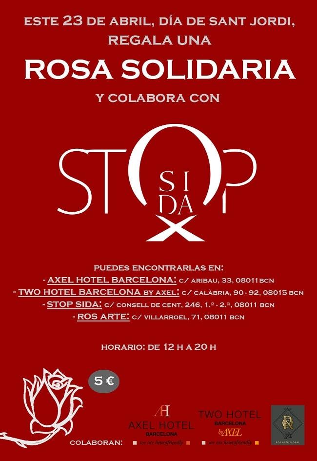 Rosa solidaria VIH san Jordi 2019